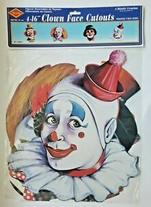 """1985 Beistle Clown Face Cutouts 4-16"""" Set Of Four New In Packaging"""