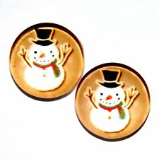 Tiny SNOWMAN Earrings Made in USA Surgical Stainless Steel K5F FAST USA SHIPPING