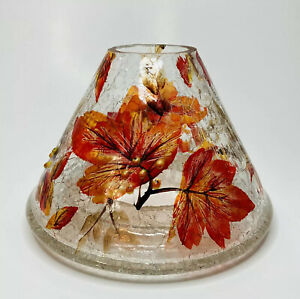 YANKEE CANDLE Autumn Leaves Large Crackle Glass Jar Candle Shade Fall Nearly New