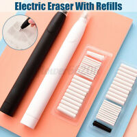 Electric Pencil Eraser Kit with 20pcs Rubber Refill Highlights Sketch Drawing AU