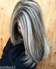 New European Remy Human Hair Wigs Grey Balayage Lace Front Wig Full Lace Wigs