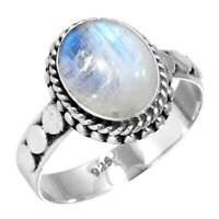Rainbow Moonstone Women Jewelry 925 Sterling Silver Ring Size 5 AX45916