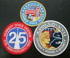 NASA SPACE PATCHES- PACK OF 3, GREAT PRICE! KENNEDY SPACE CENTER, APOLLO 17 etc.