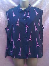 black pink sleeveless blouse top size M Eiffel tower Paris print beach holiday