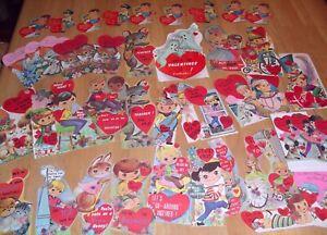 Lot 44 Cute Vintage Valentines Day Cards Animals Ghost Kids 1950 - 1970s  Unused