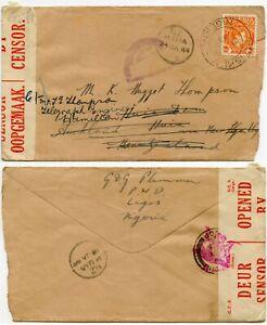 NIGERIA to NEW ZEALAND HUIA WW2 DOUBLE CENSORED POTISKUM JOS ..REDIRECTED 1944