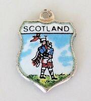 Vintage SCOTLAND Bagpiper Silver Enamel Travel Shield Charm RARE
