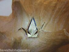 23mm Hawaiian 14k Green Gold Sadako Peace Crane Wings Up BS Origami Pendant #1