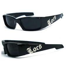 Locs hombre Cholo motero Uv400 gafas de Sol - negro brillante Lc66