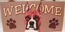 Welcome Boxer Cropped Ear Dog Breed Wood Sign/Wall Plaque