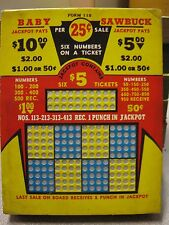 Vintage Punch Board Baby Sawbuck .25 Per Hole Gambling Device #5251 Box#Pb-13