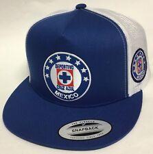 Deportivo Cruz Azul MEXICO Fútbol 2 logotipos Sombrero Camionero Royal  Blanco Snap Back 2b07a657460