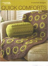 Quick Comforts Afghans & Pillows Crochet Instruciton Patterns Square Bolster NEW