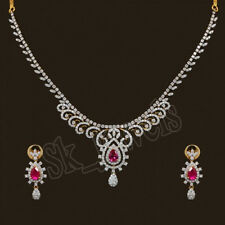 7.34ct NATURAK DIAMOND RUBY 14K YELLOW GOLD WEDDING ANNIVERSARY NECKLACE SET