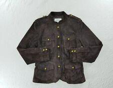 Aria Womens Suede Leather Jacket blazer Coat Snap Button sz Medium