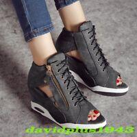 KKorean Womens Hidden Wedge Heel Sneakers Hollow Open Toe Lace Up Zip Shoes Pump