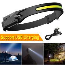 NEU Stirnlampe COB LED Kopflampe USB Wiederaufladbar Bewegungssensor 5 Modi