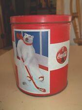 Vintage Coca Cola Polar Bear Winter Sports Collectible Lidded Tin Can
