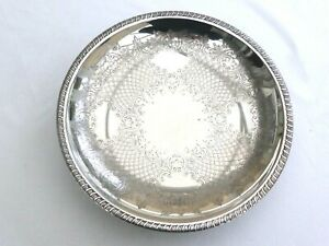VINTAGE SILVER PLATED FLORAL PATTERNED RAISED BOWL WITH GADROON RIM  1510055059