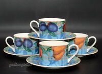 Victoria & Beale Forbidden Fruit * 4 SETS CUPS & SAUCERS * Colorful Fruit, EXC!