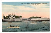 Vintage Postcard Lake Front Saltair Pavilion Ship Restaurant Salt Lake Utah  J17