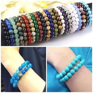 "Handmade Natural Gemstone Round Bead Stretchy Bracelet Women 6.5""-9"" 12mm Reiki"