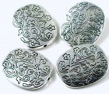 4 Antique Silver Pewter Large Oval Focal Beads texture 26mm