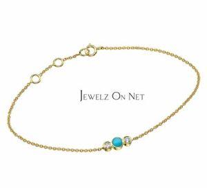 14K Gold Genuine Diamond And Turquoise Gemstone Chain Bracelet Fine Jewelry