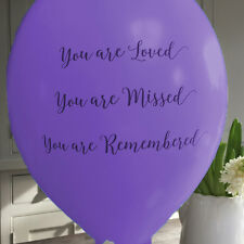 10 Purple 'You Are Loved' Biodegradable Funeral Remembrance Condolence Balloons