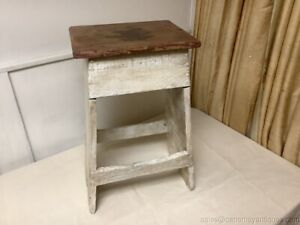 Antique Farm House Stool Pantry Decorative Accent Wood Top Distressed White Base