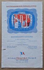 Les Femmes Savantes programme Cercle Dramatique Francais de Londres 1955 KG Hall