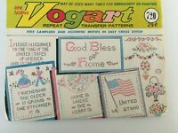 Vintage Vogart Embroidery Repeat Transfer Pattern No. 720 Patriotic Flag Flowers