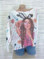 Oversize ITALY Strick Shirt Pulli Pullover Tunika Print 38 40 42 Weiß E937 NEU