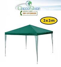 Gazebo impermeabile struttura tubolare in metallo 3x3m Verde - Mod. Fiera