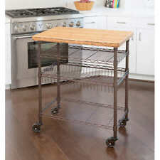 Seville Classics Professional Chef's Kitchen Cart w/ Solid Bamboo Top