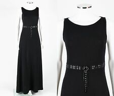 ST JOHN EVENING Black Santana Knit Sleeveless Paillette Jewel Maxi Dress Gown 8