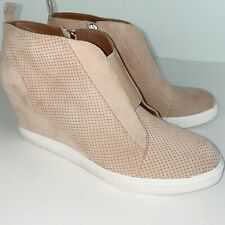 Linea Paolo Blush Perforated Suede Wedge Sneaker Woman Size 9 M Felicia