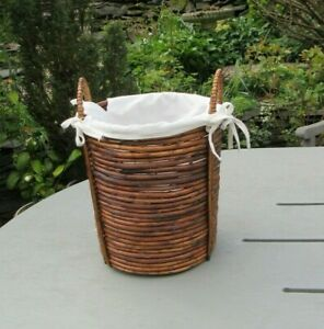 Handmade Willow  Lined Tall Basket with Handles