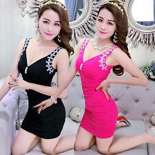 Women Sexy Sleeveless Deep V-Neck Party Prom Clubwear Stretch Bodycon Mini Dress