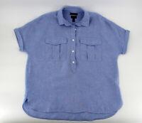 J CREW Baird McNutt Women's Top Size 6 Irish Linen Popover Short Sleeve Blue