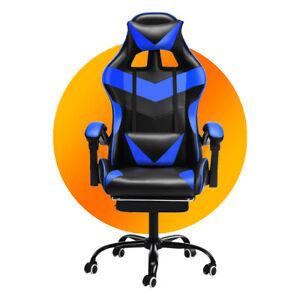 Racing Chaise Gaming de Bureau Fauteuil Gamer Ergonomique avec Escabeau Cadeau