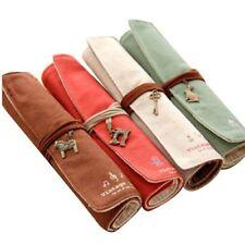 4Pcs Vintage Wrap RollUp Canvas Pen Pencil Case Makeup Bag Storage Pouch Holder