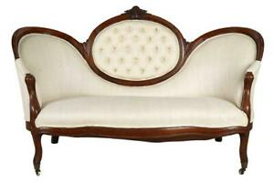 19th Century American Rococo Style Carved Upholistered Settee