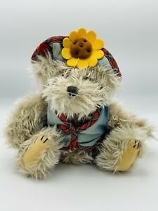 "Pickford Brass Button Bear Blossom Sunflower Hat Teddy Plush 10"" Tall Jointed"