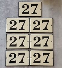 VINTAGE HOUSE NUMBER SIGN Enamel steel metal door plate plaque 27 Beige Black