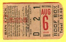 VINTAGE 1948 BASEBALL TICKET STUB-8/6/48-CHI CUBS/BOS BRAVES