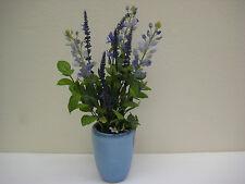 BLUE LAVENDER Artificial Silk Flowers Arrangement in Blue Ceramic Vase