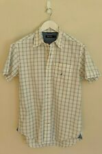 NAUTICA White/Blue Check Logo-Embroidered Short-Sleeve Button-Up - Mens Size M