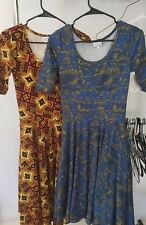 New LuLaRoe Nicole Dress LOT OF 2 Small Brown Red Black Tribal Blue Yellow Shape