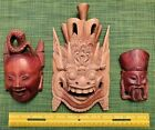 3 antique Wood carving Asian Wooden Traditional Mask Used from JAPAN